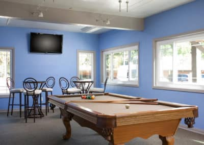 Billiads table in the game room at Highland Pinetree