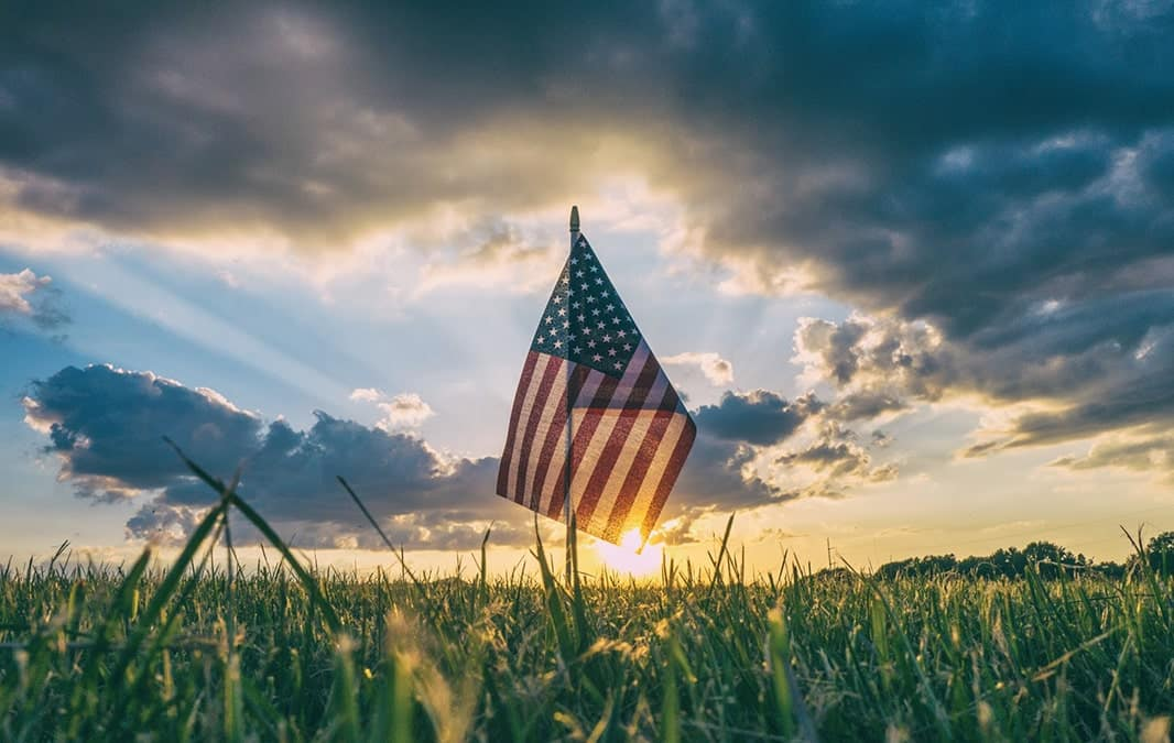 American Flag on a sunset background